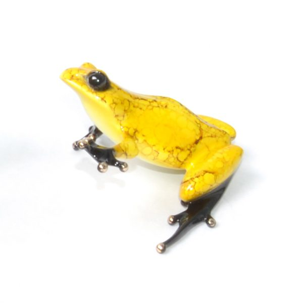 "Chai is a limited edition bronze by Tim Cotterill the Frogman. This sculpture is a brilliant yellow with a crackled design from TIm's ""Tea Party"" collection."
