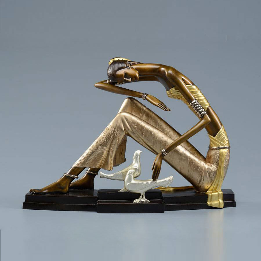 Silver Queen Fine Art is honored to show the works of Ting Shao Kuang. This is an image of one of his rare bronze sculptures. Master painter and sculptor Ting was born in communist China and escaped north to Mongolia to live with buddhist monks until immigrating here to the United States.