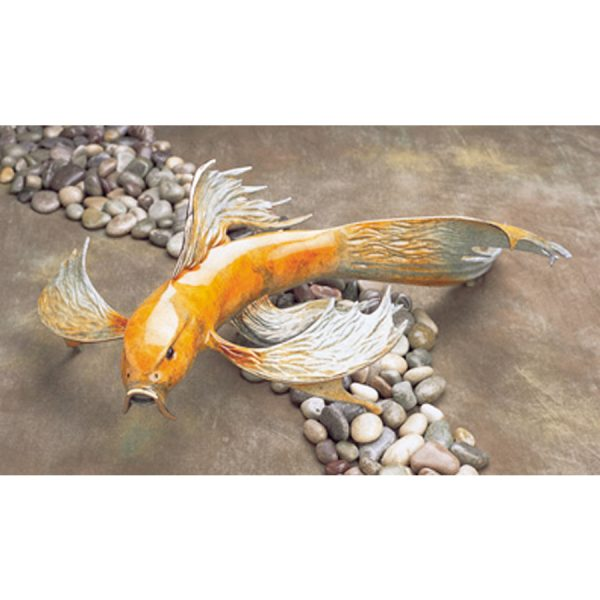 Big Kahuna is a large, majestic, orange, limited edition, koi fish, bronze sculpture by Tim Cotterill. It is the largest koi in his collection. The sculptures rests flat on any table surface by it's fluid looking fanned out fins.