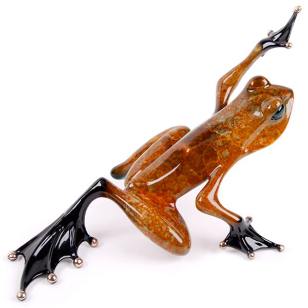 Ace II is a lovely burnt orange and red, limited edition, bronze frog sculpture by the Frogman Tim Cotterill