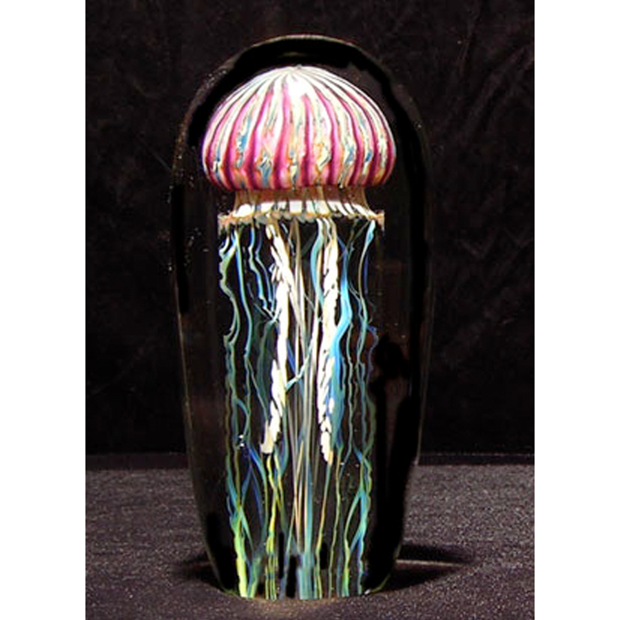 """This is a one of a kind piece of blown glass by Richard Satava. This sculpture is so real, we have customers ask nealry everyday """"is that a real jellyfish."""""""