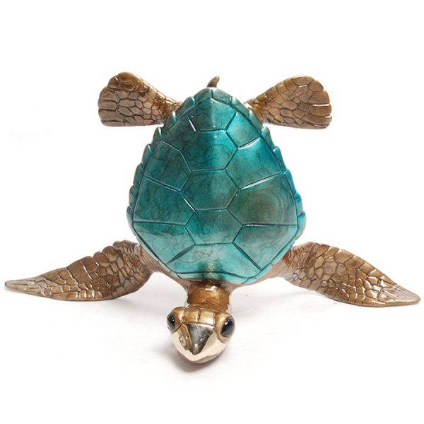 blue sea turtle doing headstand bookends sculpture