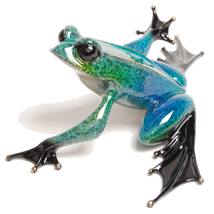 Strata by Tim Cotterill is a limited edition bronze frog sculpture by the Frogman. It has a green and blue crackled patina.