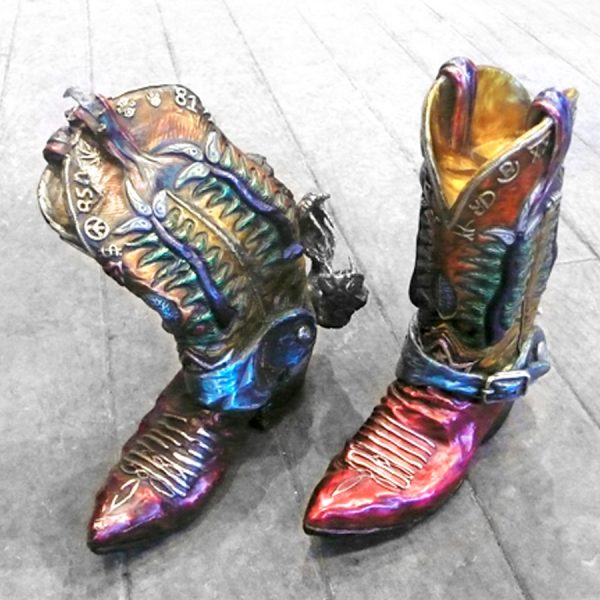 rainbow bronze cowboy boots by artist r garth