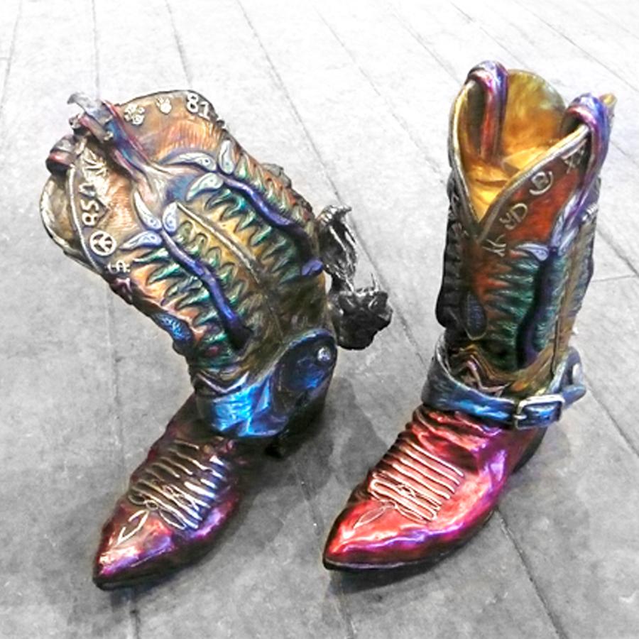 rainbow bronze cowboy boots by artist r garth