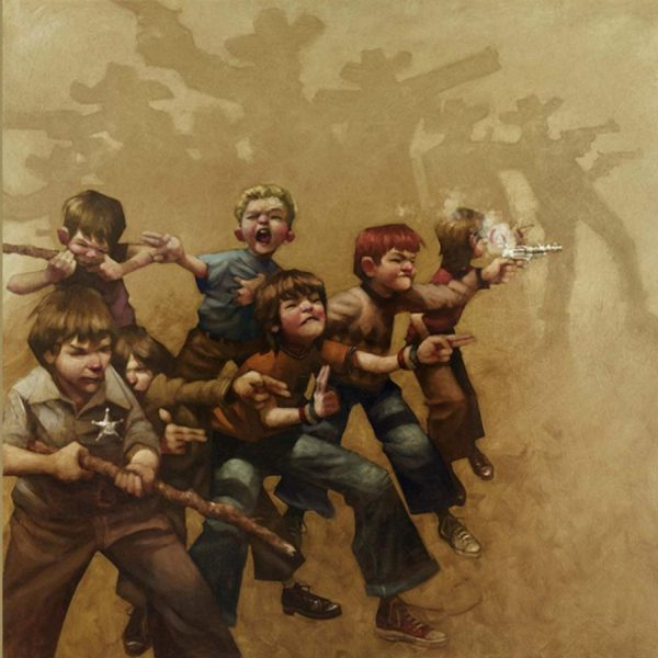 Guns of the Magnificent Seven is a limited edition print by Craig Davison. It features seven young boys playing with their cap guns and make shift shot guns. Their shadows come to life as the Magnificent Seven