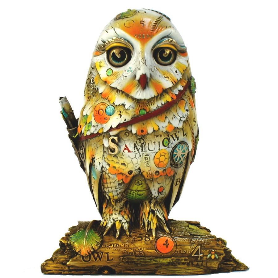 Samuel the Poet is a limited edition bronze owl sculpture by Nano Lopez. It features a wise owl covered in Nano's signature texture and vibrant colorful patinas.