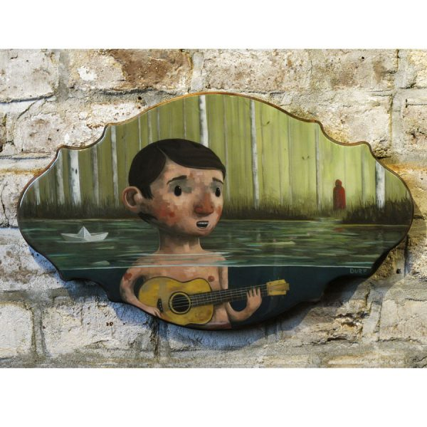 She Spotted Him Out in the Water is an original painting by Nathan Durfee. It features a boy swimming in a lake. In the background you see a woman dressed as Little Red Ridding Hood .