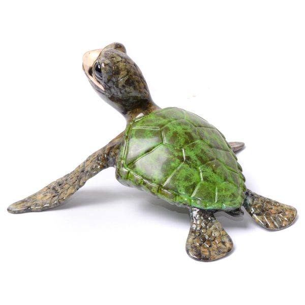 Aloha by Chris Barela is a limited edition bronze turtle finished in a metallic green patina.