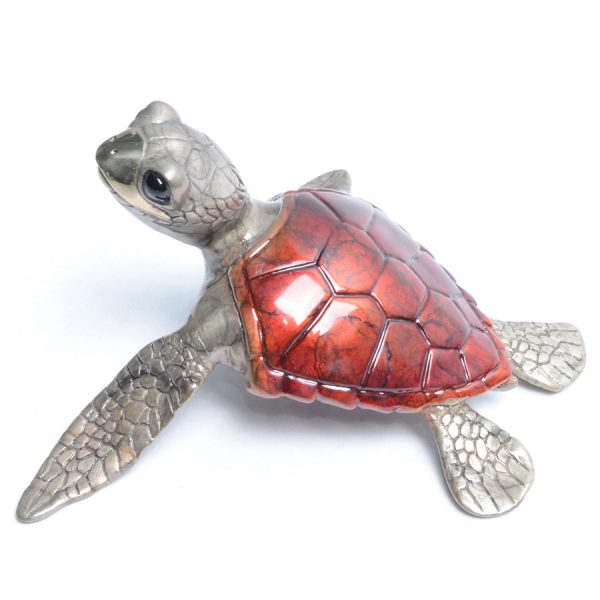 Aloha by Chris Barela is a limited edition bronze turtle finished in a rich red patina.