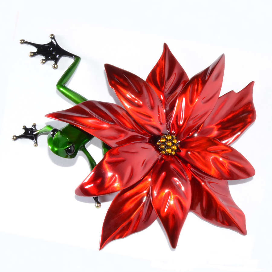 Poinsettia by Tim Cotterill the Frogman is a limited edition bronze sculpture featuring a gorgeous green frog hiding under the flower of a poinsettia.