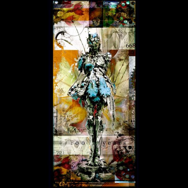 Maria Gatherer by Nano Lopez is a limited edition print of a female statue covered in organic textures, such as leaves, fruits, sticks and feathers.
