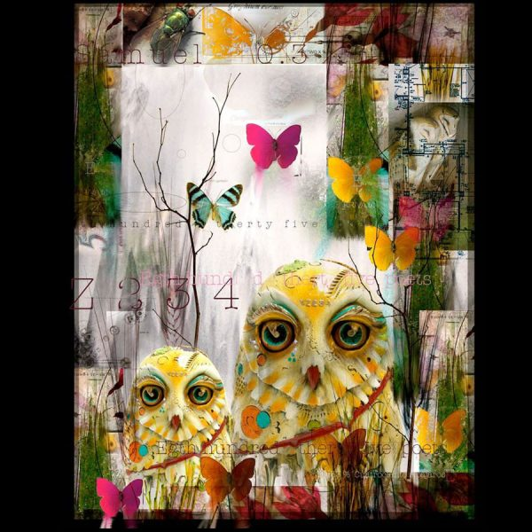 This is a giclee print on canvas of a colorful owl and butterflies by master sculptor Nano Lopez. The title of this wonderful piece is Samy Owl.