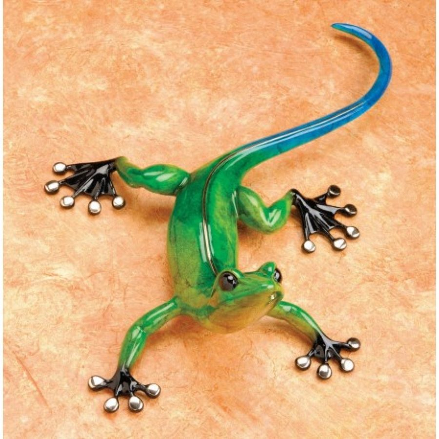 Margarita is a lovely, jewel toned, blue and green gecko sculpture, created to mount on any wall. She has black feet and high polished bronze toes. She was created by Tim Cotterill the Frogman.