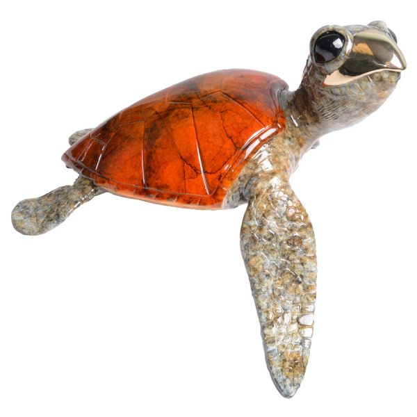 Alani is a limited edition bronze turtle by Hawaiian artist Chris Barela. This turtle is the largest in his collection of terrapins and is the Royal matriarch in the collection. Her shell is a high polished orange with dark marbling. It's nose is high polished bronze and the remaining parts of her body is a wonderful speckled light brown. The edition size is 100.