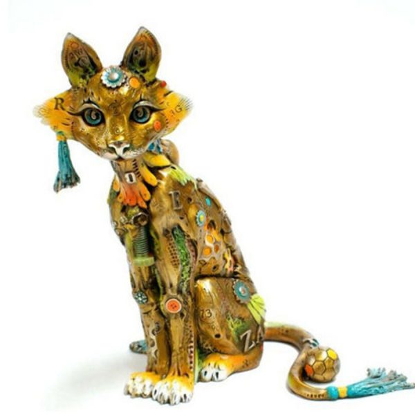 Edison by Nano Lopez is a limited edition bronze cat sculpture that is available in two sizes. You are reading about the Medium Edison that measures 8.75 tall. The solid, cast sculpture is radiant in natural or overhead light because of the artists three step patina process. Edition is covered in Nano's unusual but appropriate textures and vibrant color.