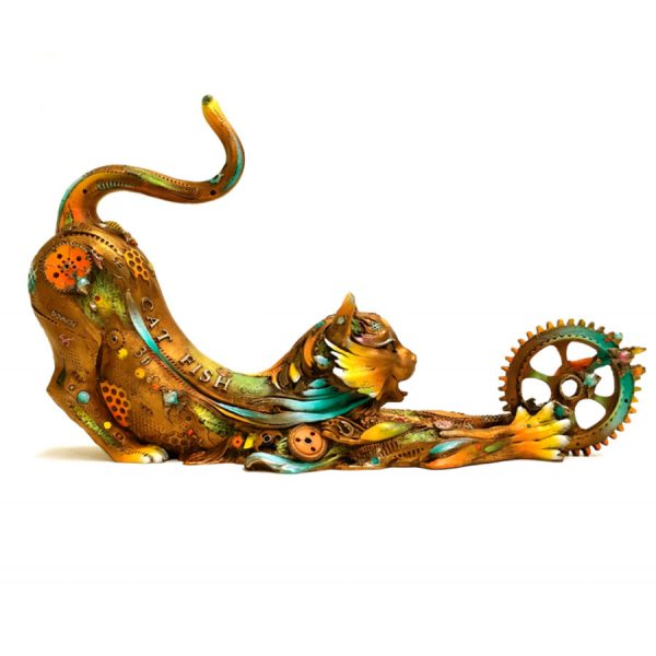 This vibrantly colored, limited edition bronze cat sculpture is Medium Catfish Lily created by Nano Lopez. It is covered with wonderful textures, gears, gadgets, colors and treasures a cat might enjoy.