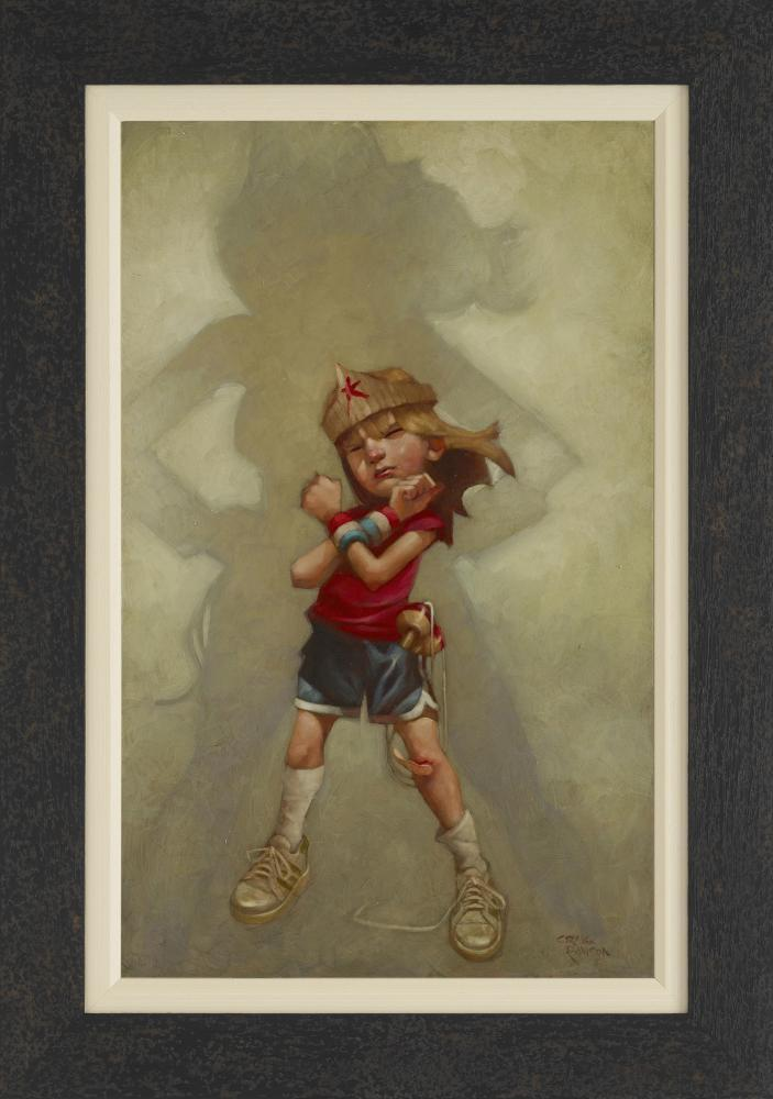 This limited edition print by Craig Davison is title Day's of Wonder and features a girl child dressed and pretending to be Wonder Woman. In the background her shadow reflects her imagination and you can see the image of Wonder Woman