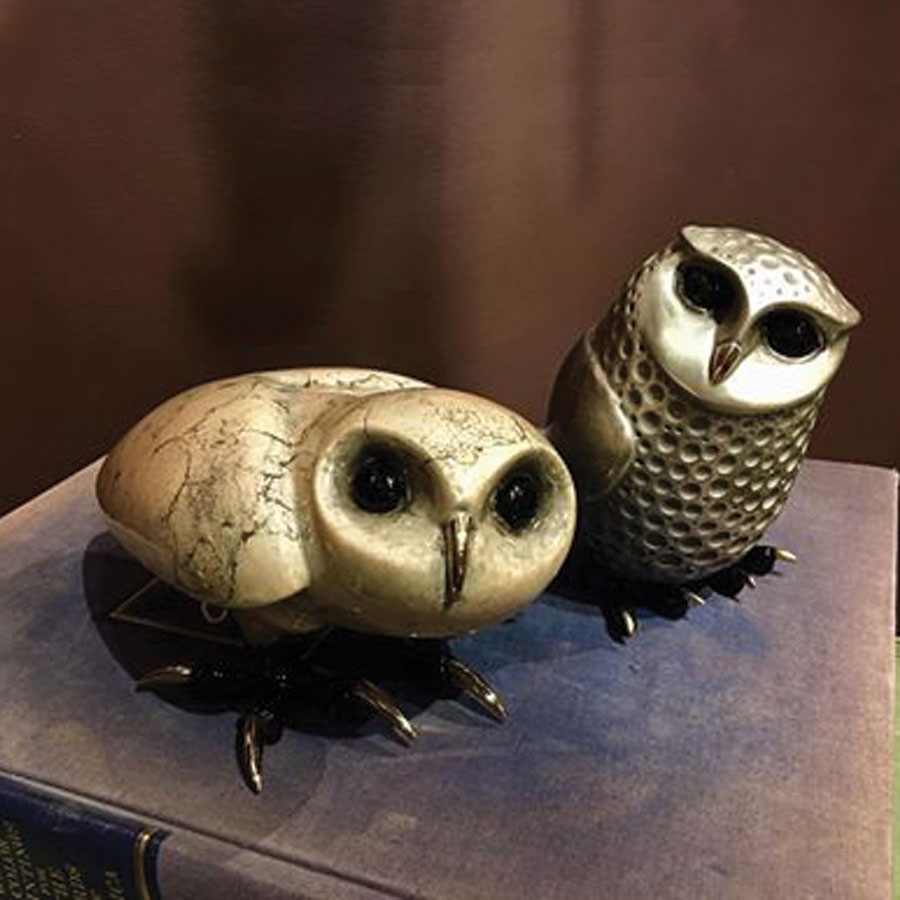 This is an additional image of Alfie beside Arthur both limited edition bronze owl sculptures from Tim Cotterill's Birds of Prey series.